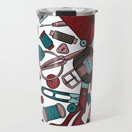 Handmade, sewing, embroidery. Seamless border. Needlework items. Travel Mug