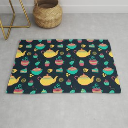 Cute British Tea Time Pattern Gift Rug