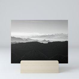 Mountains in the morning mist Mini Art Print