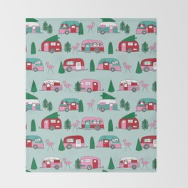 Camper vacation christmas road trip tropical home away from home pattern Throw Blanket