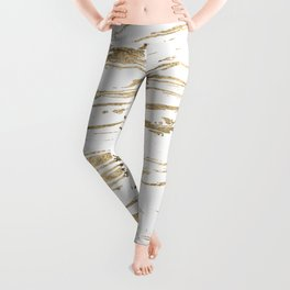 Gold abstract marbleized paint Leggings