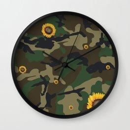 sunflower camo Wall Clock