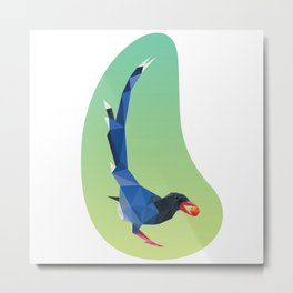 Low-poly blue bird Metal Print