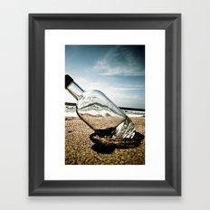 Bottle On Beach Framed Art Print