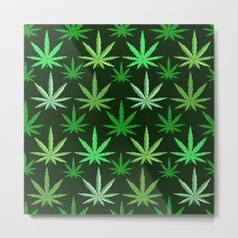 Marijuana Green Leaves Weed Metal Print