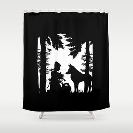 Black Silhouette Red Riding Hood Wolf in Woods Trees Shower Curtain