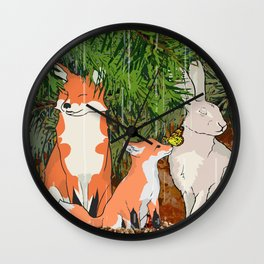 The red fox, the baby fox, the Hare and the baby hare Wall Clock