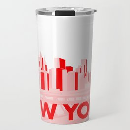New York in Pink and Red Travel Mug