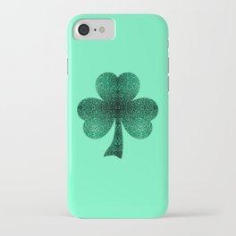 Emerald green shamrock clover sparkles iPhone Case