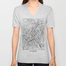 Vienna White Map Unisex V-Neck
