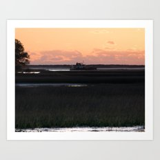Early Morning Barge Art Print
