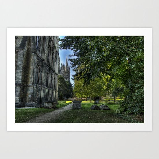 The Cathedral and Graveyard at Peterborough Art Print