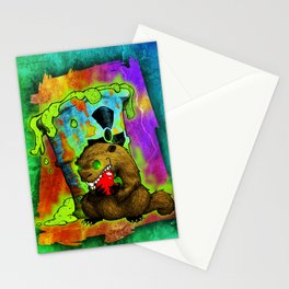 Radioactive Groundhog Eating an Apple Stationery Cards
