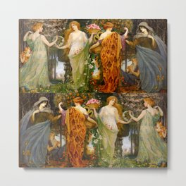 "Walter Crane ""A Masque for the Four Seasons"" Metal Print"
