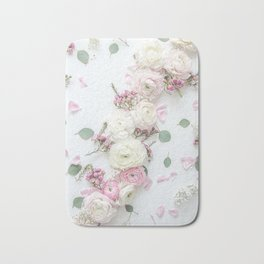 SPRING FLOWERS WHITE & PINK Bath Mat