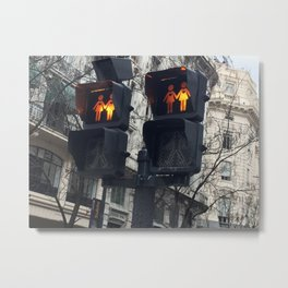 Gay Street Lights (Lesbian Couple) Metal Print