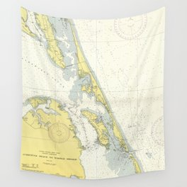 Vintage Map of The Outer Banks (1942) Wall Tapestry