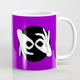 Sign Language (ASL) Interpreter – White on Black 06 Coffee Mug
