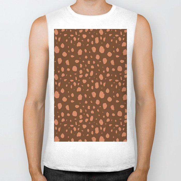 Painterly Dots in Brown + Terracotta Biker Tank