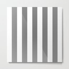 Gray (HTML/CSS gray) - solid color - white vertical lines pattern Metal Print