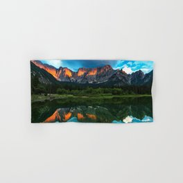 Burning sunset over the mountains at lake Fusine, Italy Hand & Bath Towel