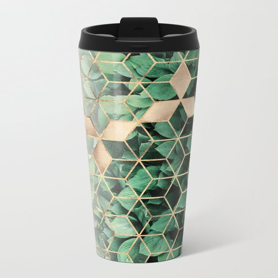 Leaves And Cubes Metal Travel Mug