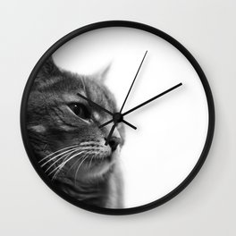 Always a Cat- Black and white photo of a cat Wall Clock
