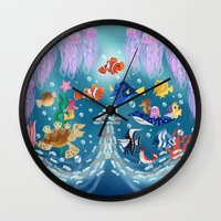finding nemo Wall Clocks featuring Sea Wallpainting by princessbeautycase