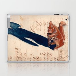 Vintage Wood Carved Squirrel in Gouache Laptop & iPad Skin