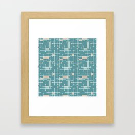 Intersecting Lines in Teal, Tan and Sea Foam Framed Art Print
