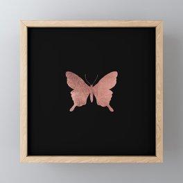 Elegant trendy black faux rose gold butterfly Framed Mini Art Print