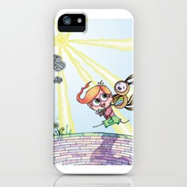 Laughing Along the Path - One Boy and a Toy iPhone Case