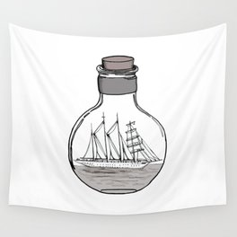 the ship in the bulb . illustration . Wall Tapestry