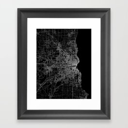 milwaukee map Framed Art Print