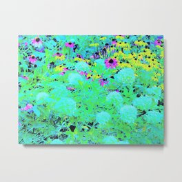 Impressionistic Aqua Garden Landscape Hydrangeas Metal Print