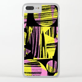 Yellow Pink & Black scribbles Clear iPhone Case