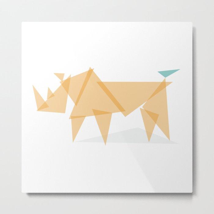 Rhino and Friend : Geo Menagerie Series Metal Print