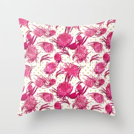 Pink and Gold Australian Native Floral Pattern - Protea, Grevillea and Eucalyptus Throw Pillow