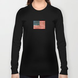 Vintage Aged and Scratched American Flag Long Sleeve T-shirt