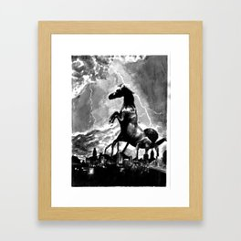 Creature Over The Town Framed Art Print