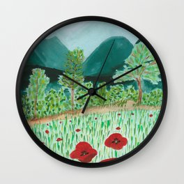 poppy-coquelicot Wall Clock