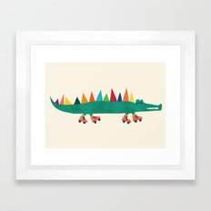 Crocodile on Roller Skates Framed Art Print