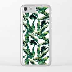 Banana Leaves Green on White Clear iPhone Case
