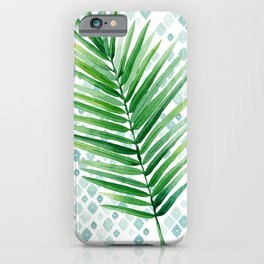 Tropical Palm Frond Watercolor Painting iPhone Case