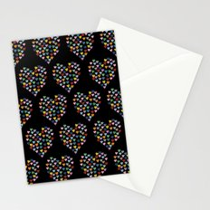 Hearts Heart Multiple on Black Stationery Cards