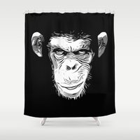 evil Shower Curtains featuring Evil Monkey by Nicklas Gustafsson