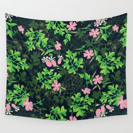 Forest Wildflowers / Dark Background Wall Tapestry