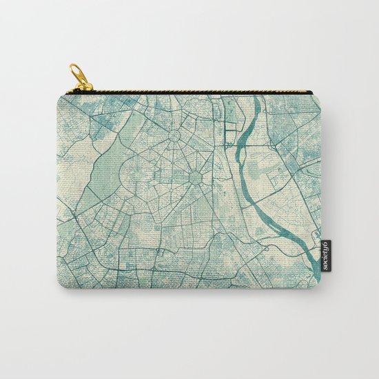 Delhi Map Blue Vintage Carry-All Pouch