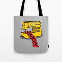 anarchy Tote Bags featuring Anarchy Sewing Machine by mailboxdisco