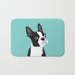 Boston Terrier Portrait - Blue Bath Mat